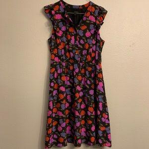 J. Crew Silk Floral Flutter Sleeve Dress